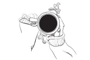 Hand drawn coffee in the hands