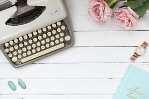 Beige Typewriter White Wood Stock
