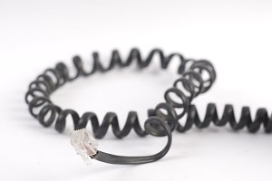 Black spiral phone cable