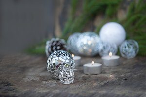 Silver Christmas composition