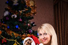 Christmas woman Yorkshire terrier