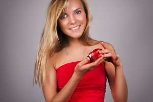 Blonde woman with Valentine present