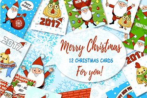 12 christmas card. Cute Santa!