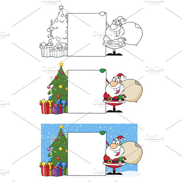 Smiling Santa Claus. Collection  - Illustrations