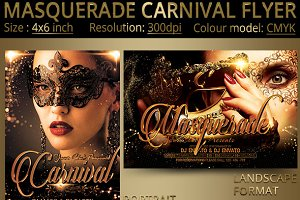 masquerade carnival party flyer flyer templates creative market