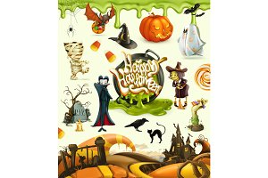 Halloween 3d vector illustrations