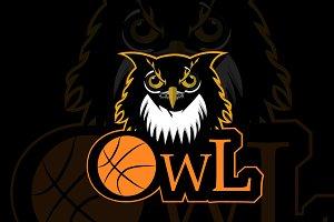 Retro owl sport logo basketball team