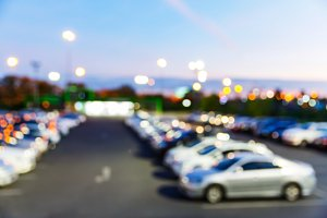 Blurred outdoor car park