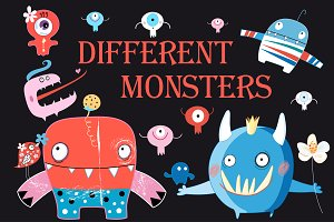 Funny colorful monsters