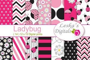 Pink Ladybug Digital Paper Pattern
