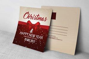 Merry Christmas Postcard Template