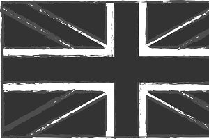 British flag black vintage