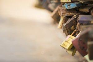 Padlocks on the bridge of love
