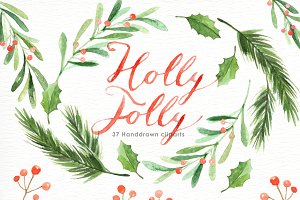 Holly Jolly Watercolor cliparts