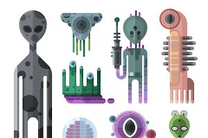 Alien monsters vector set