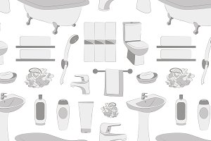 Bathroom elements pattern