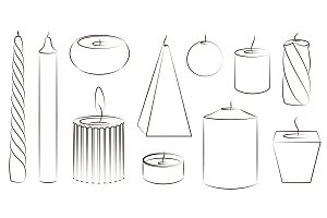 Candles icon set