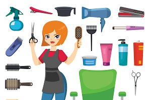 Hairdresser barber girl vector tools