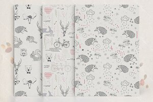 Scandinavian animals pattern set