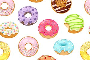 Vector donut seamless pattern