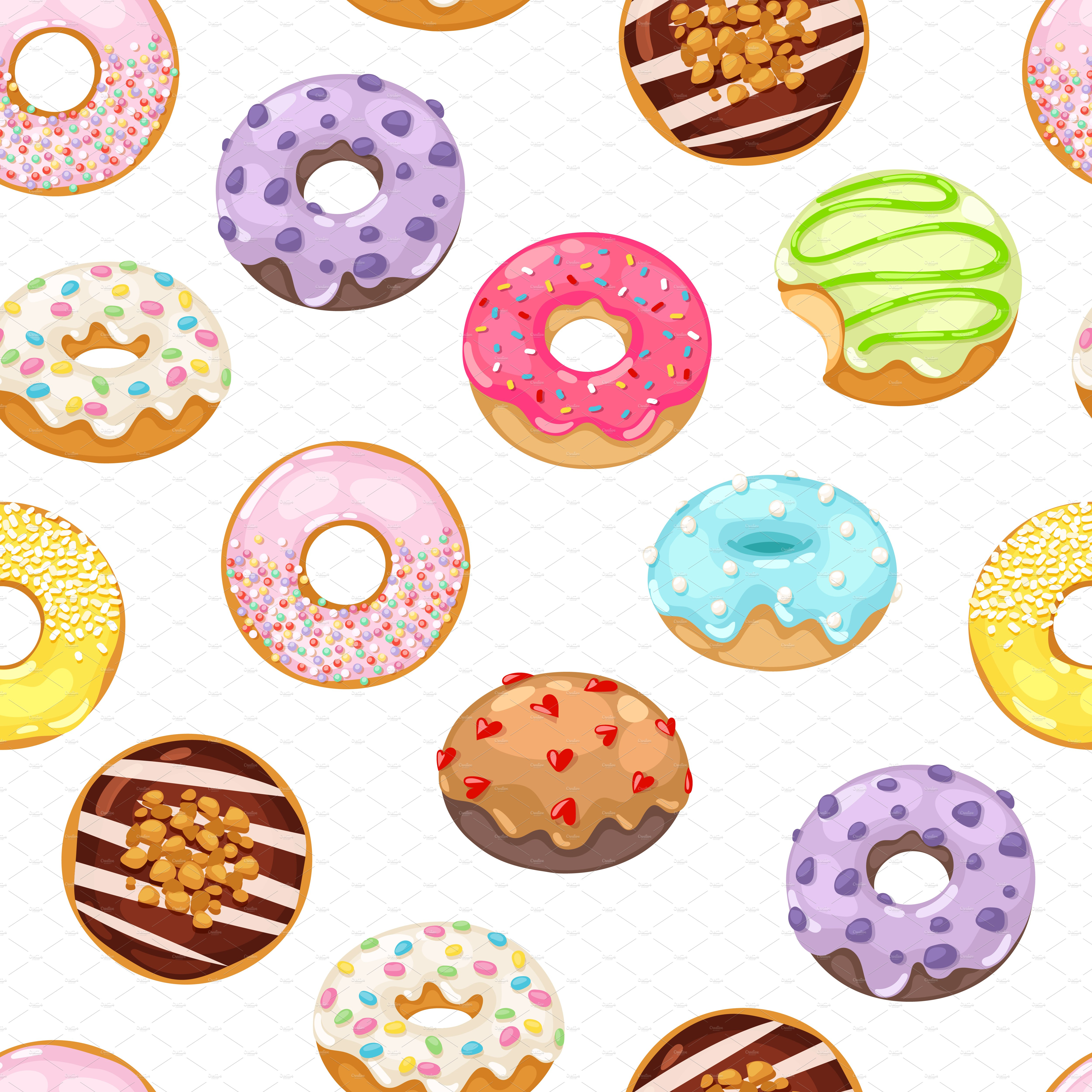 Cartoon Doughnut Factory: Vector Donut Seamless Pattern