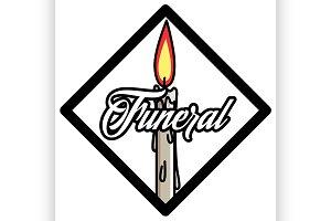 Color vintage funeral emblem