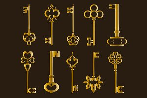 Ornamental medieval vintage keys