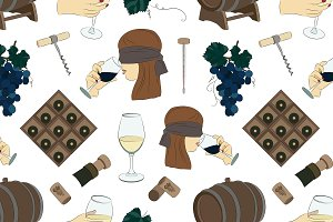 Tasting wine icons pattern