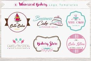 6 Whimsical Bakery Store Logo Bundle