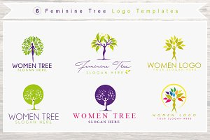 6 Feminine Woman Figure Tree Logos