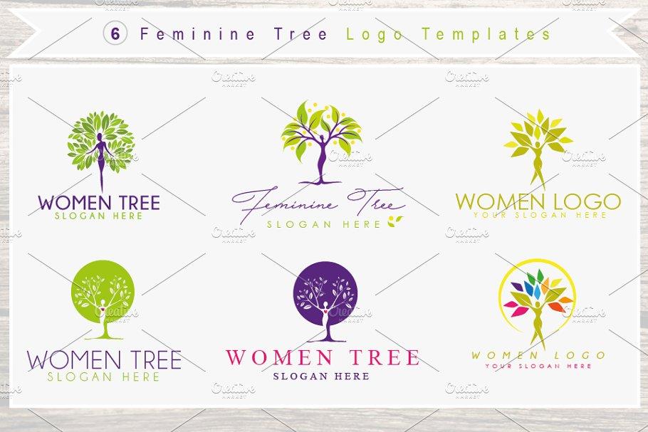 6 Feminine Woman Figure Tree Logos