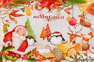 Merry & Bright Watercolor Graphics