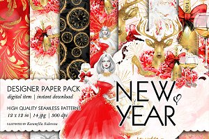 New Years Party Seamless Patterns