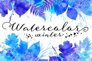 20 watercolour winter backgrounds