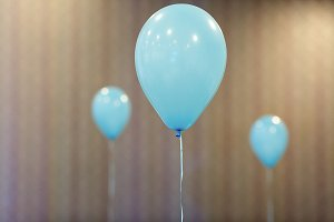Blue balloons in restaurant
