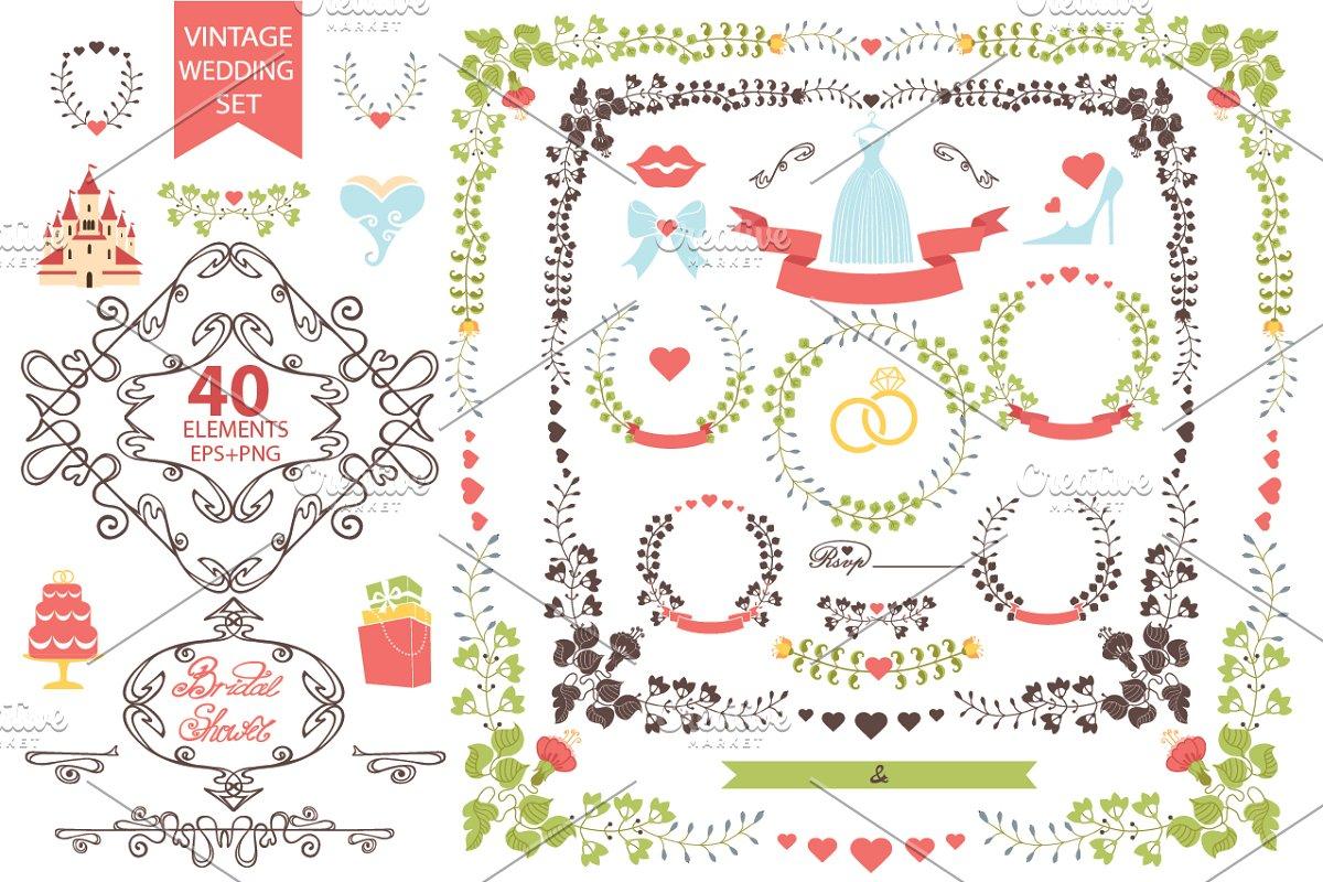 Vintage wedding floral set1 in Illustrations - product preview 8