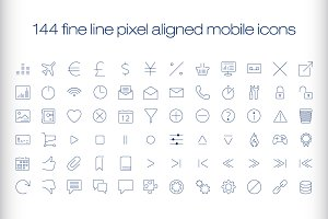 144 cutting edge modern icons.