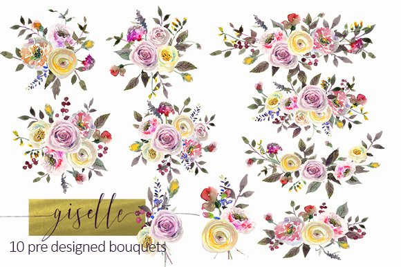 Watercolor Pink Yellow Flowers Illustrations Creative Market