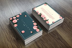 Floral card template, vintage style.