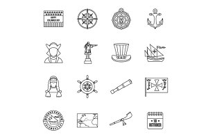 Columbus Day icons set