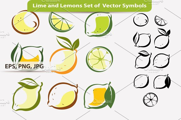 Lime And Lemons Set Of Symbols Illustrations Creative Market