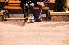 couple in love sitting on a bench
