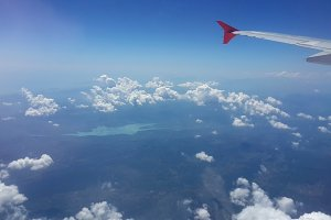 airplane view window on sky