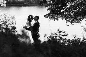 Kiss behind a lake