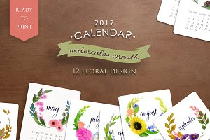 Watercolor floral 2017 calendar