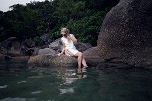 girl on pond