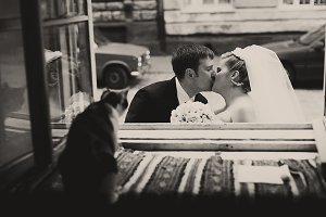 Kiss of newlyweds