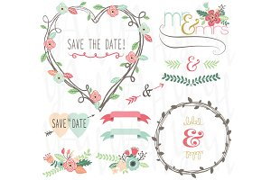 Vintage Wedding Floral Heart Shape