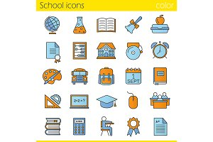 School. 25 icons. Vector