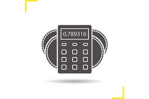 Calculator with coins icon. Vector